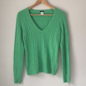 J. Crew Green Cable V-Neck Wool Sweater Size Small